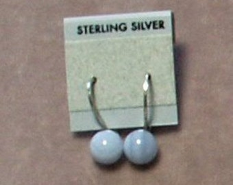 Sterling Silver Earrings of 8mm Blue Lace Agate Half Drilled Spheres