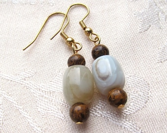 Natural Agate Drums with Chrysanthemum Stone Rounds Beaded Dangle Earrings