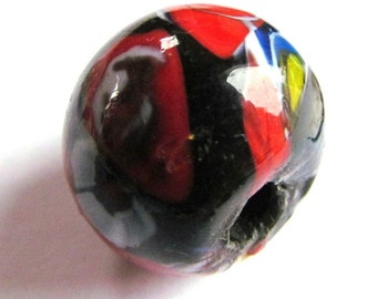 Recycled Round Abstract Multicolor Lampwork Glass Focal Bead