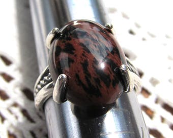 Sterling Silver Rope Shank Ring set with 18x13mm Mahogany Obsidian Cabochon