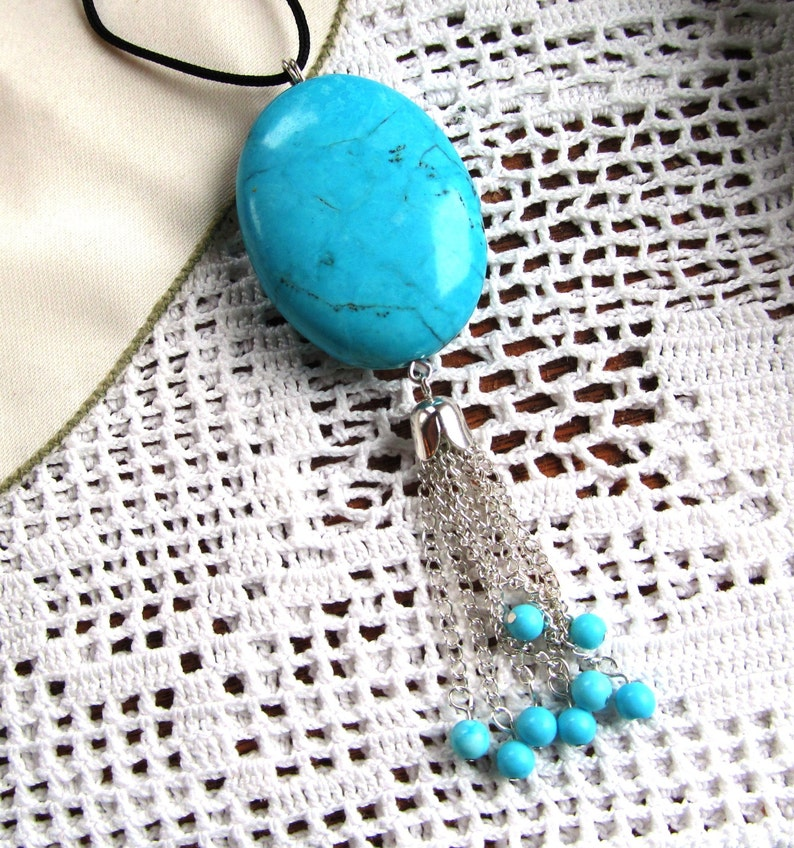 Turquoise Tipped Tassel Cotton 40x30mm Dyed and Stabilized Magnesite Pendant