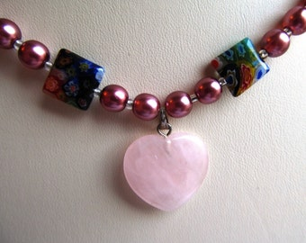 18 inch Necklace of Druk and Millefiore Glass Beads with Rose Quartz Focal Heart