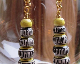 Hand Painted Porcelain Bead Inca Design Dangle Earrings on Gold Plated Findings