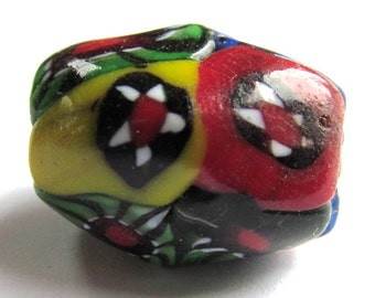 Recycled Multicolor Freeform Oval Glass Focal Bead