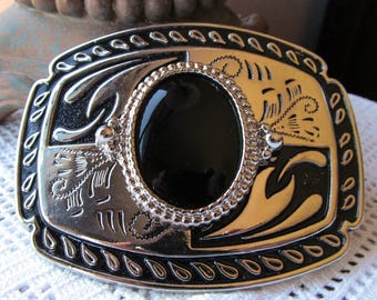Belt Buckle Silver Tone and Black with 40x30mm Black Onyx Cabochon