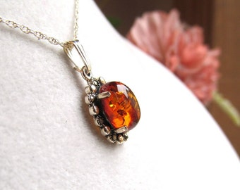 Baltic Amber Cabochon Pendant 10x8mm In Sterling Silver and Marcasite with Chain