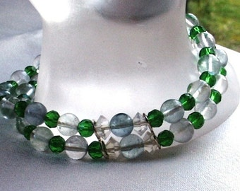 Two Strand Bracelet of Green Fluorite and Green Faceted Glass Beads Box Clasp