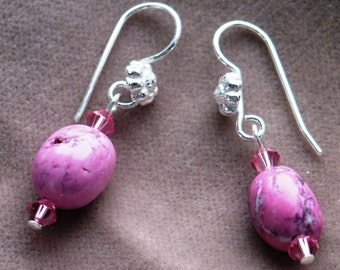 Sterling Silver Dangle Earrings of Fuchsia Chalk Turquoise and Swarovski Crystals Two Styles Available