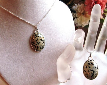 Dalmatian Jasper 30x22mm Oval Cabochon in Sterling Silver