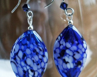 Cobalt Glass Wavy Oval Earrings Hand Formed Zebra Wires with Swarovski Crystals