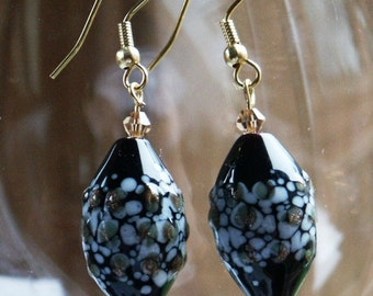 Black Lampworked and Foiled Glass Earrings on Gold Plated Findings