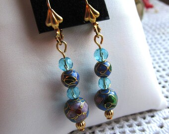 Gold Plated Dangle Earrings of Graduated 6 and 8mm Cloisonne Metal and Crystal Beads