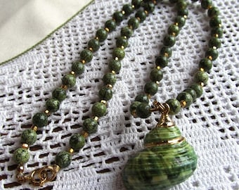 Necklace of Green Russian Serpentine, Gold Plated Rounds and Turban Shell Focal
