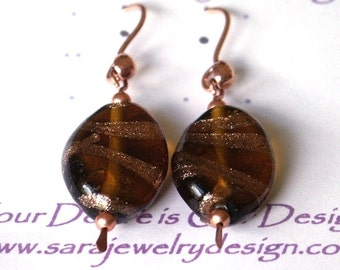 20x15mm Twisted Oval Foiled Glass Beads with Copper Dangle Earrings