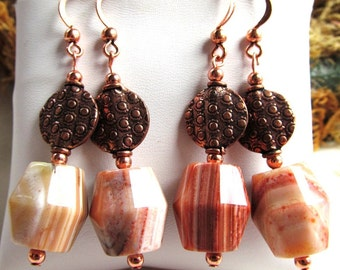 Botswanan Agate and Copper Coin Bead Earrings with All Copper Findings