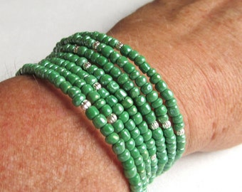 Memory Wire Coil Bracelet in Green Luster Seed Beads and Silver Plated Rounds