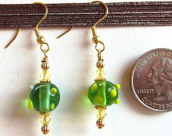 Apple Green Bumpy Lampwork Glass Beaded Dangle Earrings with Swarovski Crystals