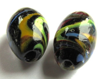Pair of Recycled Multicolor Oval Lampwork Glass Beads