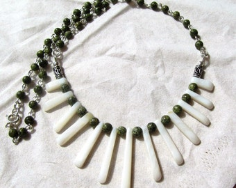 Mother of Pearl Fan or Bib Necklace with 4mm Serpentine Rounds Sterling and Silver Plated