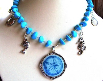 Adjustable Length Turquoise Nugget Necklace, Metal Charms and Focal Medallion
