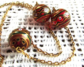 Red Foiled Glass Lampwork Round 3-Station Necklace on 18 inch Gold Plated Chain