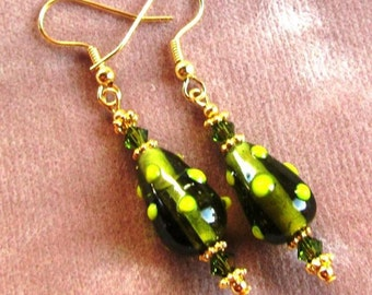 Olive Green Bumpy Lampwork Teardrop Glass Beaded Earrings and Swarovski Crystals
