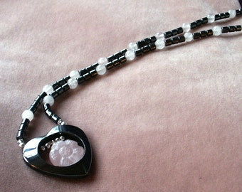 Natural Hematite and Rose Quartz 20 inch Beaded Necklace with Sterling Silver Findings