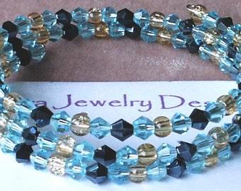 Sunlit Seas Swarovski Crystal Memory Wire Coil Bracelet