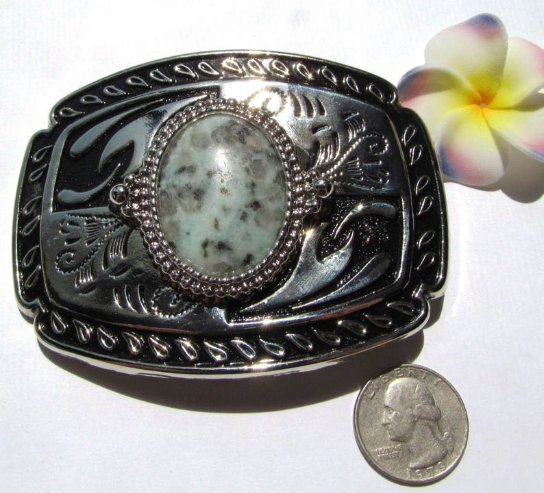 Belt Buckle of Silvertone Metal with Black Enameling and 40x30mm Sesame Jasper Cabochon