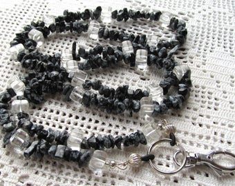 Badge or Eyeglass Lanyard Snowflake Obsidian Chips with Clear Glass Cube Beads
