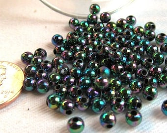 Packet of 100 4mm Acrylic Party Beads in Iris Black