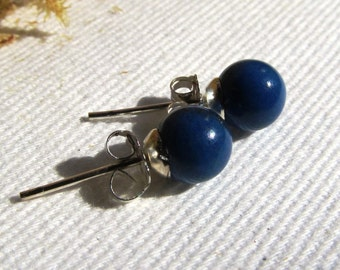 6mm Half-drilled Natural Lapis Lazuli Spherical Sterling Silver Stud Earrings