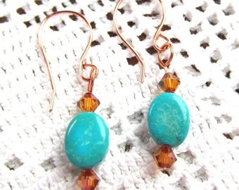 Chalk Turquoise Ovals and and Swarovski Crystal Copper Beads on Hand Formed Copper Ear Wires