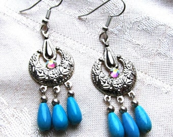 Chalk Turquoise Chandelier Earrings in Silver-plate with Swarovski Crystals