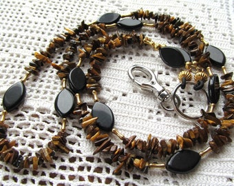 Badge or Eyeglass Lanyard  in Tigers Eye Chips and Obsidian Marquise Beads