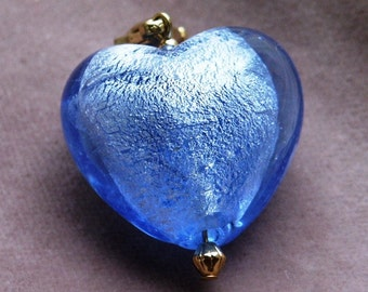 26mm Foiled Lampwork Glass Heart Zipper Pull Charms Available in Three Colors