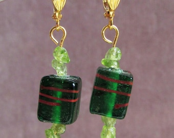Dangle Earrings of Green Pressed Glass Cube Beads with Peridot Chip Beads