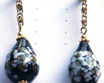 Black, White and Copper Lamp Work Glass Teardrop Earrings Gold Plated Findings