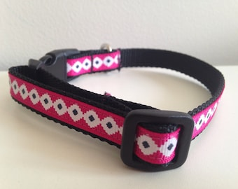 Pink with White and Black Aztec Pattern 1/2 Inch Dog Collar