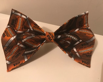 Brown Football Dog Bow Tie in Small, Medium or Large