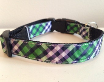 5/8 inch Green and Blue Plaid Medium Dog Collar