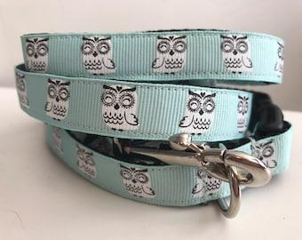 5/8 inch Aqua Owls Dog Leash and Collar Set
