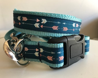 1 inch Blue and Pink Arrow on Aqua Nylon Leash and Collar Set