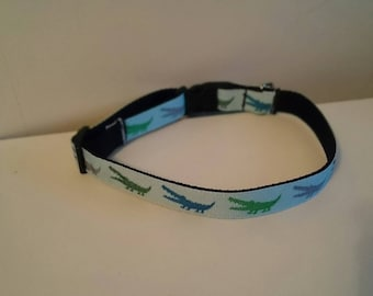 5/8 inch Blue and Green Aligators Dog Collar