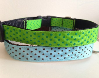 5/8 inch Medium Polka Dot Dog Collar Green with Blue Dots or Turquiose with Brown Dots