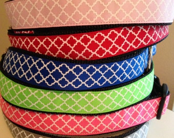 Large 1 inch Trellis Quatrefoil Dog Collar Pink, Red, Blue, Green, Gray