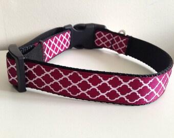 Maroon Mississippi State Quatrefoil Trellis Design Large 1 inch Dog Collar