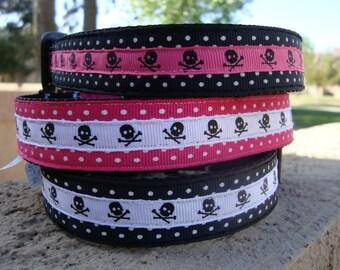 Skulls and Polka Dots Large Dog Collar