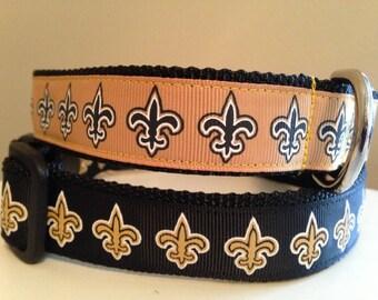 Gold and Black or Black and Gold Fleur De Lis Saints Large Dog Collar