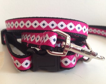 1/2 inch Pink, White and Black Aztec Leash and Collar Set